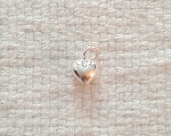 Sterling Silver Large Puffed Heart Charm - Double Sided - 3/8 x 3/8 x 3/16""