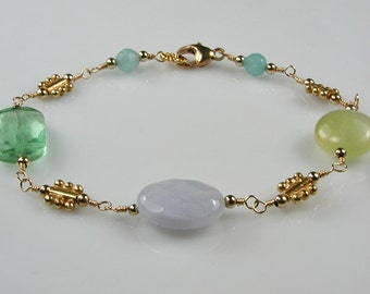 Colors of the Sea Bracelet Blue and Green Gemstones