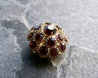 Vintage Button-Vintage Beads-Vintage Austrian Crystal Beehive Silver Plated Button-Smoky Topaz-Small-1