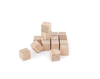 Wooden cubes DIY - crafts natural material - Set of 16 raw blocks in oak wood