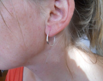 X small  Sterling Hammered Hoops