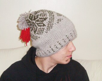 Slouchy beanie men, slouchy knit hat, mens hat, beige, with pom pom, boyfriend birthday gift for men