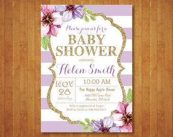 Purple and Gold Baby Shower Invitation. Purple Black Gold Glitter. Floral. Baby Girl Shower Invitation. Purple Stripes. Printable Digital.