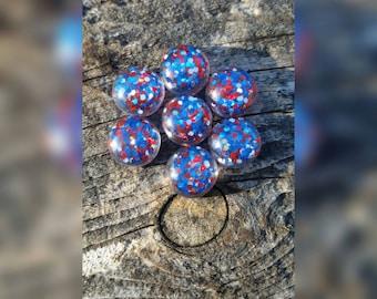 12mm Patriotic Resin Glitter  Cabochons