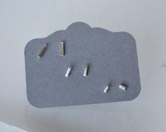 Stud Earrings, Bar Earrings, Stick Earrings, Set of Three, Silver Stud Earrings, Tiny Earrings, Silver Earrings, Cartilage Earring, Silver