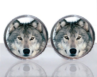 Round Glass Tile Cuff Links - Wolf Face CIR118