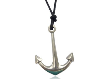 very large anchor pendant in sterling silver, jewelry for men, sailors, fishermen, nautical jewelery