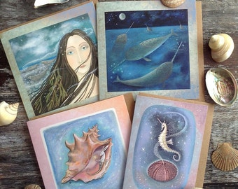 Magical Sea Themed Greeting Cards  x4  Selkie/ Narwhals/Sea Unicorn and Sea Hare By Karen Davis