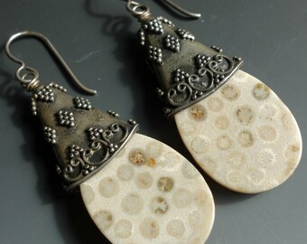 Fossil Coral Bali Sterling Earrings