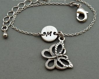 Butterfly charm bracelet, antique silver, initial bracelet, friendship, mothers, adjustable, monogram
