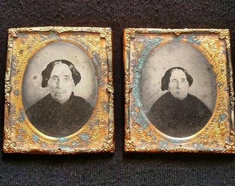 Very rare set of 2 ruby ambrotype photographs same woman different pose
