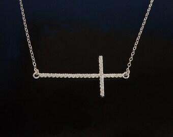 Sideways Cross Necklace - Longer Cross with CZ's in Silver