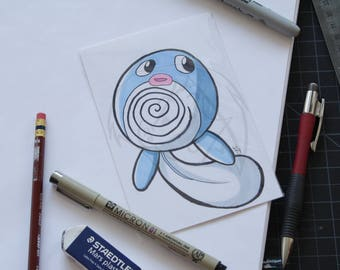 Pokemon Poliwag 4x6 marker drawing