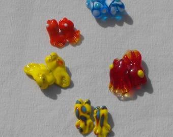 Perl.0601 Murano glass fish set