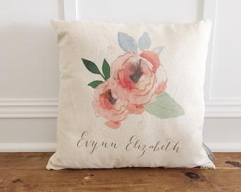 Custom watercolor flower pillow cover