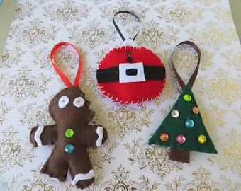 Set of Three Handsewn Felt Ornaments with Christmas Tree Gingerbread Man and Santa Belly