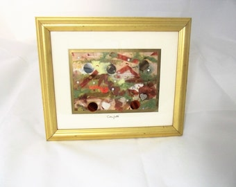 Fiber Art modern paper collage Framed Gold Abstract Copper Green gold silver fibers crystals wedding gift office decor housewarming gift