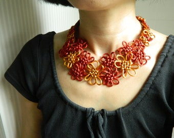 Mother Gift from daughter Flower Knot Necklace Bib Necklace Red Statement Necklace fabric Necklace Fiber Necklace Textile necklace Japanese