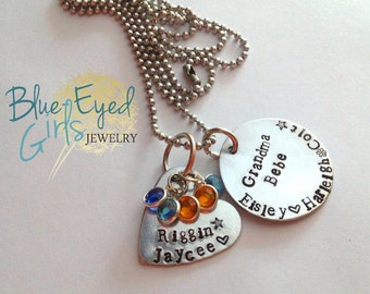 """Customized """"Grandma"""" Hand Stamped Necklace"""