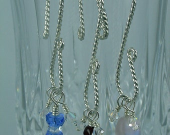Wine Charms - Sterling Silver, Round Twisted Wire - set of 4