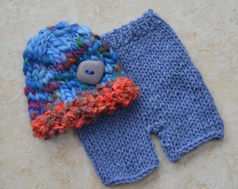 Newborn Baby Boy Knit Outfit BaBY PHoTO PRoP RTS Hat Pant SET Unisex Denim SHoRTs BeANiE Chunky Brim Cap SToNE BuTToN Coming Home ReADY SHiP