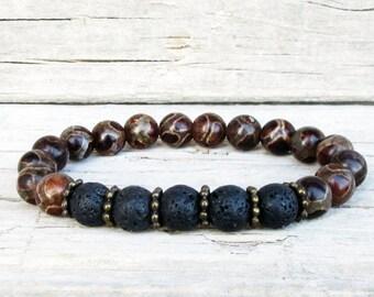 Men's Tibetian Agate Bracelet, Black Black Lava Stone Bracelet, Energy Men's Bracelet, Men's Beaded Bracelet, Meditation Bracelet