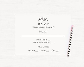 Wedding rsvp cards printable Black and white wedding rsvp template Diy response card Instant download Wedding response card printable T142