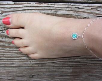 Anklets for Women, Opal Anklet, Black Opal, October Birthstone, beach anklet, Opal Anklet,  Opal, Libra Birthday, Something Blue