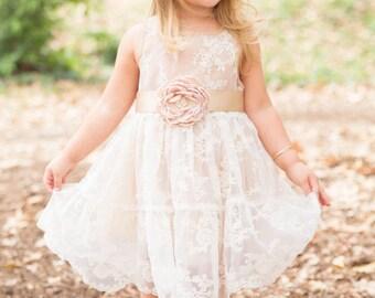 Flower girl dress, Toddler flower girl dress, champagne baby girl dress, flower girl dresses, rustic girls dress, country flower girl dress