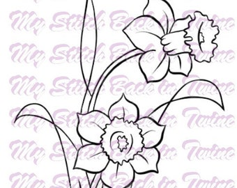 Digital stamp colouring image - Daffodiles . jpeg / png