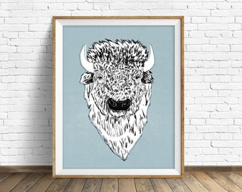 "drawing, bison, buffalo, wall art, large art, large wall art, woodland animals, fine art print, modern, contemporary, art -""Tyson the Bison"""