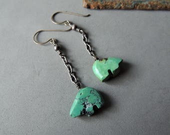 Turquoise Earrings, Sterling Silver Earrings, Dangle Earrings, Carved Turquoise Bear, Southwest, Tribal, Rustic Handcrafted, Handmade