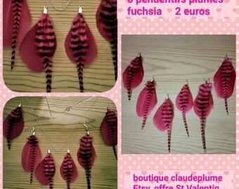 6 fuchsia feather pendants