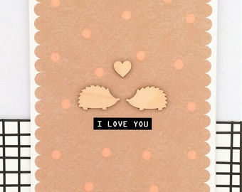 Hedgehog Greetings Card - Handmade Card - Anniversary Card - Valentine's Card