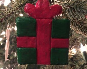 Red and Green Present Salt Dough Christmas Ornament