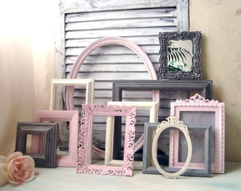 Pink, Gray and Antique White Painted Vintage Frames, MADE to ORDER Set of 11 Open Frames, Cottage Chic Open Frame Gallery, Nursery Decor