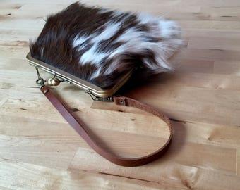 Cowhide clutch, hair on hide clutch, leather clutch with strap, kiss lock frame purse, fur clutch