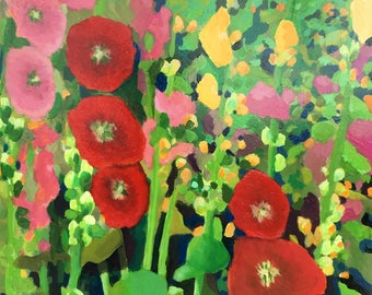 Hollyhocks, Original Acrylic Painting