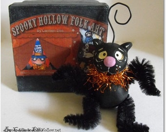 Halloween Black Cat ornament with gift box made to order