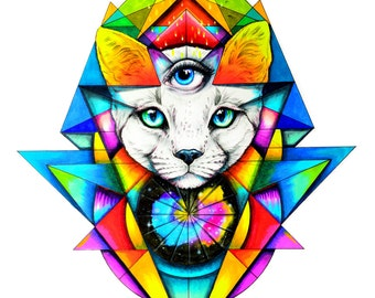 Third eye cat white- Art print hand signed