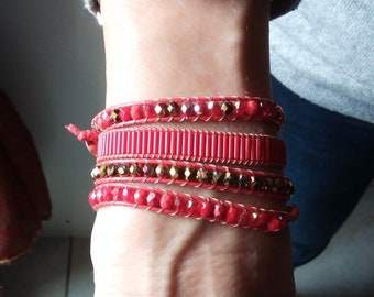 Red and gold wrap bracelet
