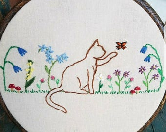 Kitty in the Garden Hoop Art