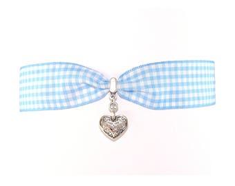 Choker chain Oktoberfest Vichy-check with blue heart
