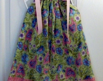 Pillowcase dress  handmade  Garden Party floral on green  2T to 3T - clearance 12.00