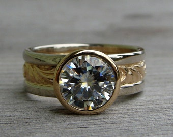 Two Carat Moissanite Ring (Forever One G-H-I) with Recycled 14k Yellow Gold and 14k White Gold, Engagement/Wedding Ring, Made to Order