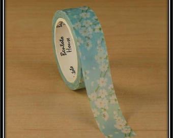 masking tape white cherry blossom on blue 15mm x 7 m