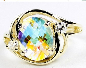 Mercury Mist Topaz, 14KY Gold Ring, R021