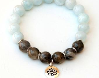 Courage and transformation bracelet, throat chakra, aquamarine, labradorite bracelet, lotus bracelet  healing bracelet, spiritual bracelet