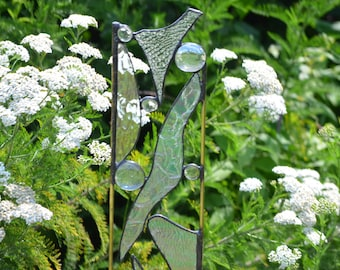 Yard Art.  Stained Glass Garden Sculpture. Textured Clear Glass.  'Reflections'