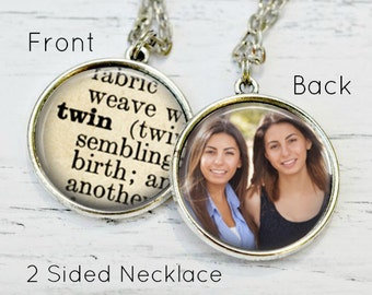 TWIN SISTER GIFT - Twin Necklace - Gifts for Twins - Twin Girls - Twin Sister Jewelry - Special Gifts - Handmade Gifts - Custom Photo Gifts